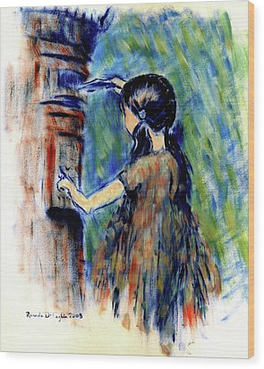 Girl And Letter Box Wood Print by Ricardo Di ceglia