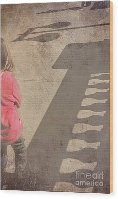 Girl And Shadows Wood Print by Jim Wright