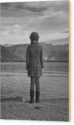 Girl At A Lake Wood Print by Joana Kruse
