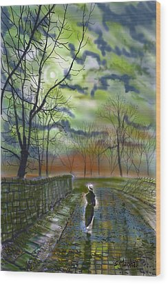 Girl By Moonlight Wood Print