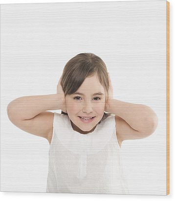 Girl Covering Her Ears Wood Print by