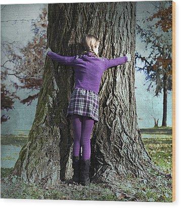 Girl Hugging Tree Trunk Wood Print by Joana Kruse