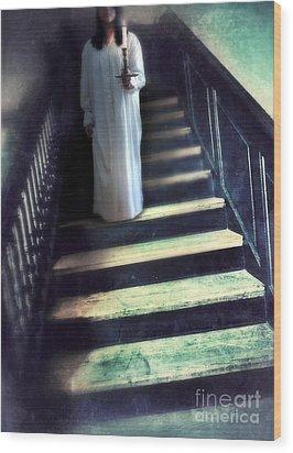 Girl In Nightgown On Steps Wood Print by Jill Battaglia