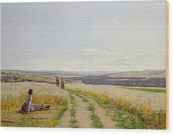 Girl In The Fields   Wood Print by Jean F Monchablon
