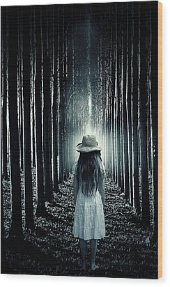 Girl In The Forest Wood Print by Joana Kruse
