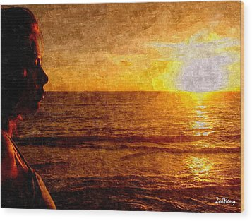 Girl In The Sunset Painting Wood Print by Zoh Beny