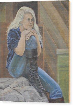 Girl On A Rock Wood Print