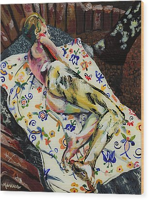 Girl On Blanket Wood Print by Lucia Marcus