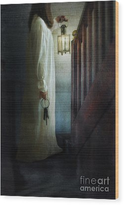 Girl On Stairs With Lantern And Keys Wood Print by Jill Battaglia