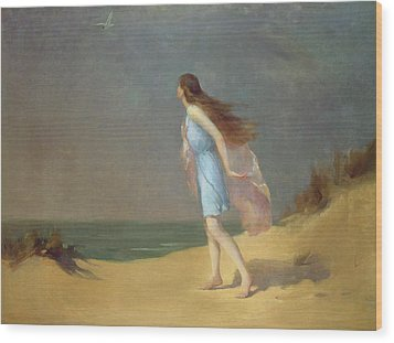 Girl On The Beach  Wood Print by Frank Richards