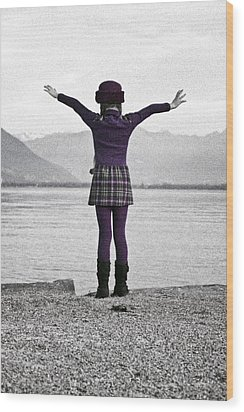 Girl On The Shores Of Lake Maggiore Wood Print by Joana Kruse