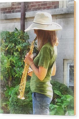 Girl Playing Saxophone Wood Print by Susan Savad