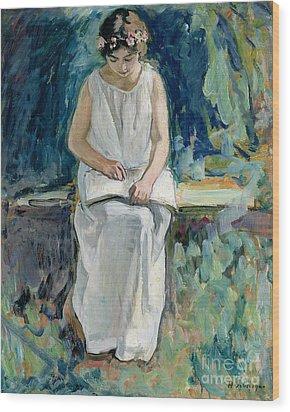 Girl Reading Wood Print by Henri Lebasque