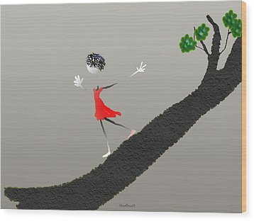 Wood Print featuring the digital art Girl Running Down A Tree by Asok Mukhopadhyay