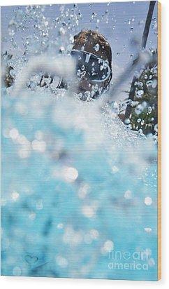 Girl Splashing Water In Swimming Pool Wood Print by Sami Sarkis