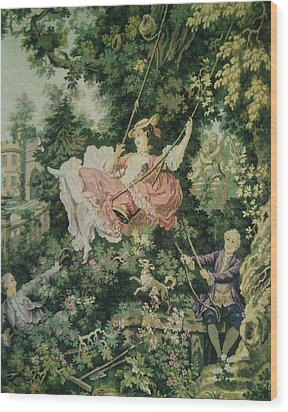 Girl Swinging Tapestry Wood Print by Unique Consignment
