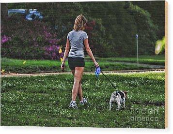 Girl Walking Dog Wood Print by Paul Ward