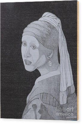 Wood Print featuring the drawing Girl With A Pearl Earring by Gerald Strine