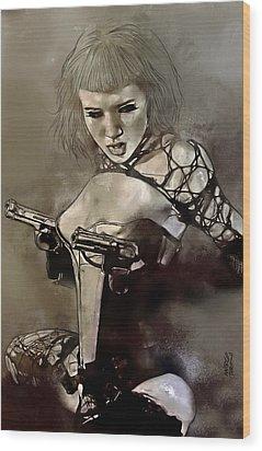 Girl With Guns Wood Print by Marco Turini