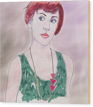 Wood Print featuring the digital art Girl With Necklace by Ginny Schmidt