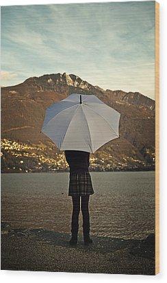 Girl With Umbrella Wood Print by Joana Kruse