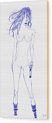 Girl's Gun Blue Wood Print by Rob Turner