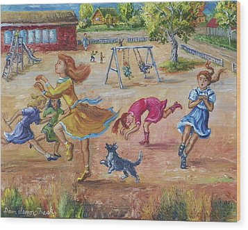 Girls Playing Horse Wood Print by Dawn Senior-Trask