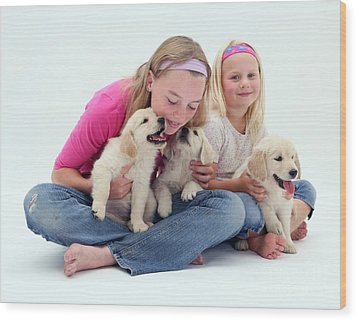 Girls With Puppies Wood Print by Jane Burton
