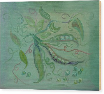 Wood Print featuring the painting Give Peas A Chance by Carol Berning