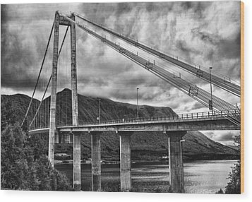 Gjemnessund Bridge Wood Print by A A