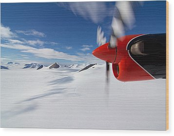 Glacier And Engine Wood Print by Mike Denton