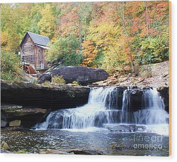 Glade Creek Grist Mill Wood Print by Laurinda Bowling