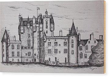 Wood Print featuring the drawing Glamis Castle by Sheep McTavish