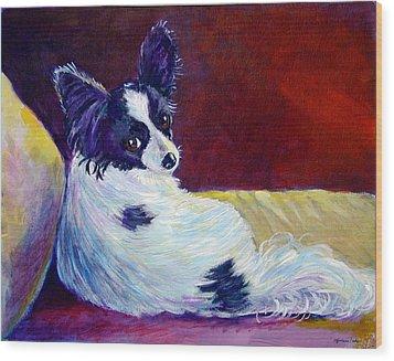 Glamor - Papillon Dog Wood Print by Lyn Cook
