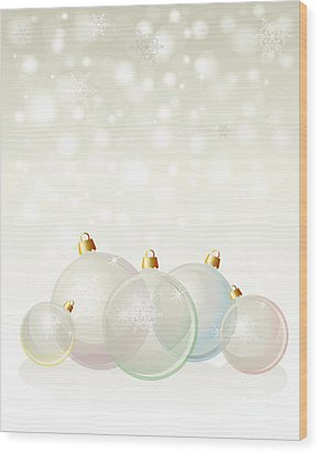 Glass Baubles Pastel Wood Print by Jane Rix