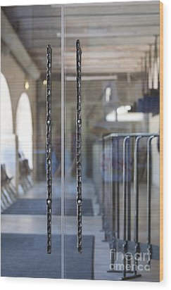 Glass Doors To A Traditional Music Center Wood Print by Jaak Nilson