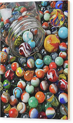 Glass Jar And Marbles Wood Print by Garry Gay