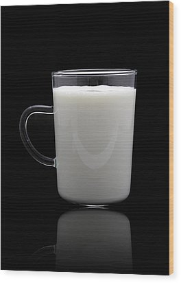 Glass Of Milk  Wood Print by Natthawut Punyosaeng