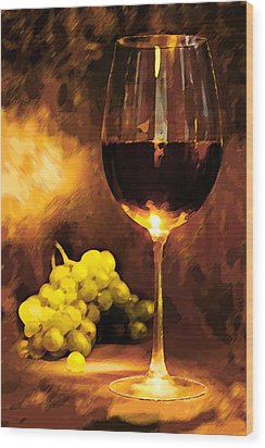 Glass Of Wine And Green Grapes By Candlelight Wood Print by Elaine Plesser