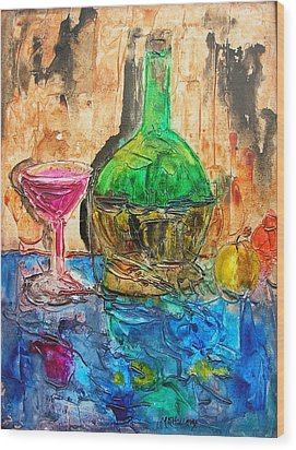 Wood Print featuring the painting Glass Of Wine by Mary Kay Holladay