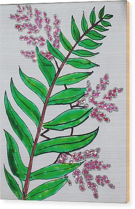 Glass Painting-plant Wood Print by Rejeena Niaz