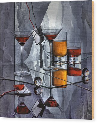 Glass Reflection Wood Print by Ron Schwager