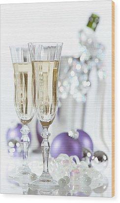 Glasses Of Champagne Wood Print by Amanda Elwell