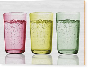 Glasses Of Water Wood Print by Gombert, Sigrid