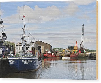 Glasson Dock Wood Print by Jason Connolly