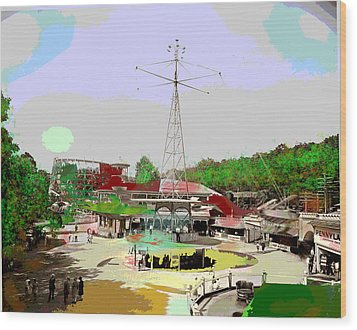 Wood Print featuring the mixed media Glen Echo Park by Charles Shoup