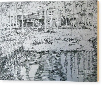 Wood Print featuring the pastel Glen's Home by Gretchen Allen