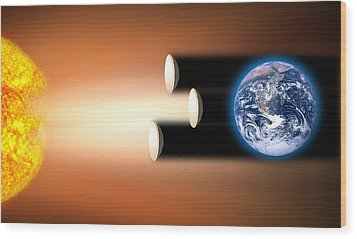 Global Warming Sun Shields, Artwork Wood Print by Victor De Schwanberg