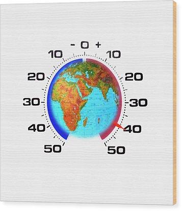Global Warming,conceptual Image Wood Print by Cristina Pedrazzini