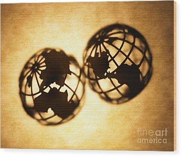 Globe 2 Wood Print by Tony Cordoza